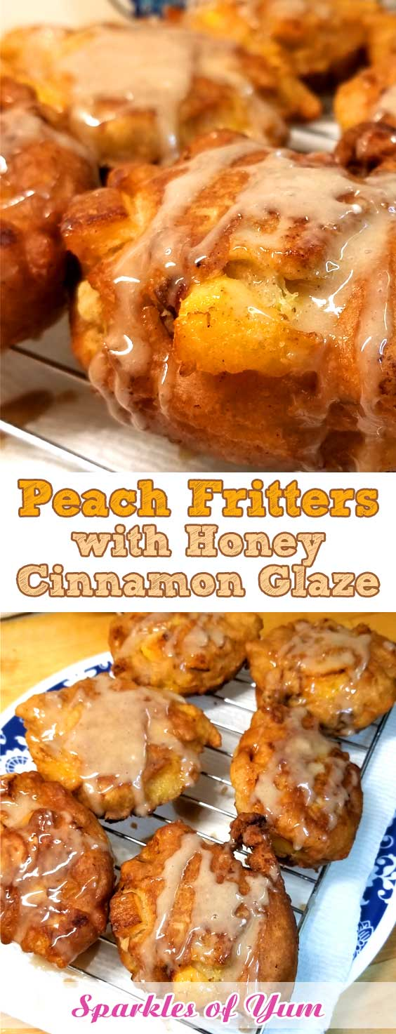 When fresh peaches are at the farmers market, and it's too damn hot to turn the oven on, you make Peach Fritters with Honey Cinnamon Glaze! And they are so good, you can't even come up with words for how good they are. #peaches #summer #breakfast #dessert #fritters