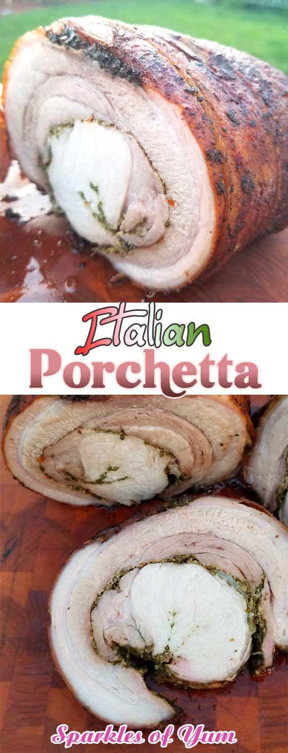 Porchetta, or porketta if that is what you prefer, is the pork lovers paradise. You get a crispy crackling outer layer, with the ultimate juicy and tender porky goodness all the way through. #pork #italian #porkbelly #porkloin #pesto