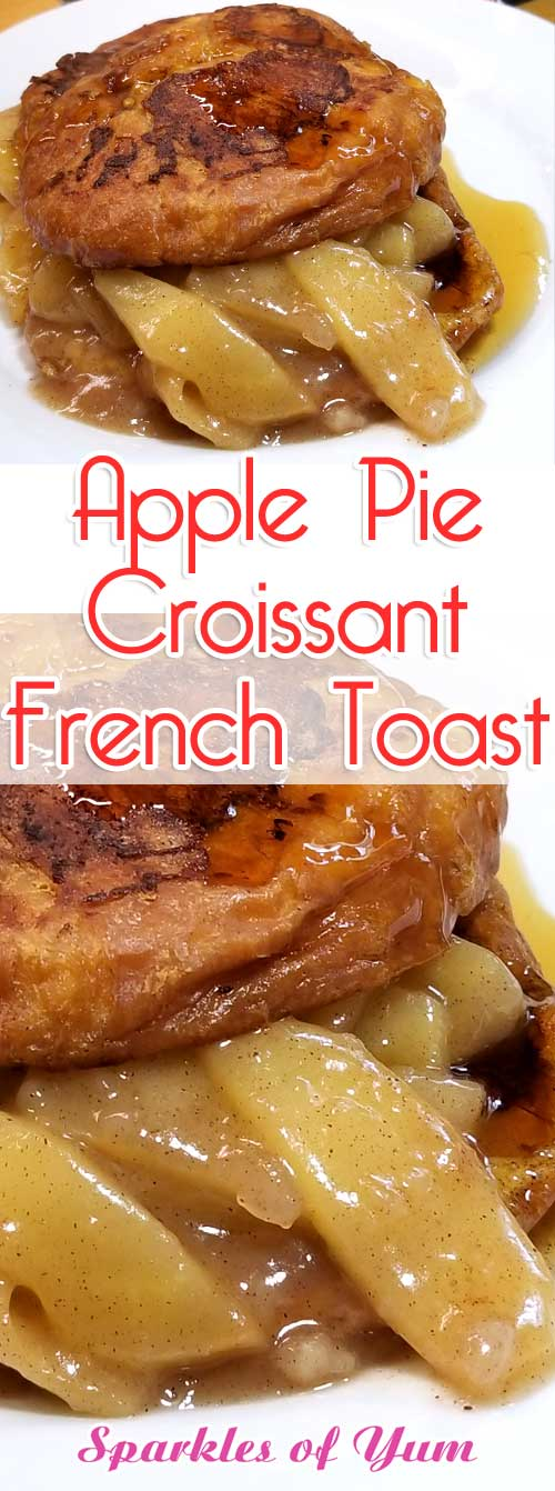 Decadently deliciousApple Pie Croissant French Toast, is pure buttery goodness filled with tender fried cinnamon apples, perfect for a fall brunch or special holiday breakfast. #breakfast #apple #croissant #frenchtoast