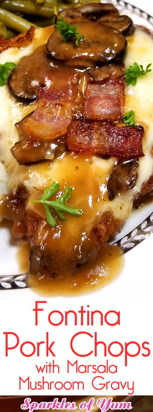 Juicy flavorful pork chops blanketed with melted fontina cheese and covered with a garlicky Marsala mushroom gravy. An easy delicious home cooked meal with restaurant quality. #porkchops #mushrooms #gravy #dinnerideas #oneskillet