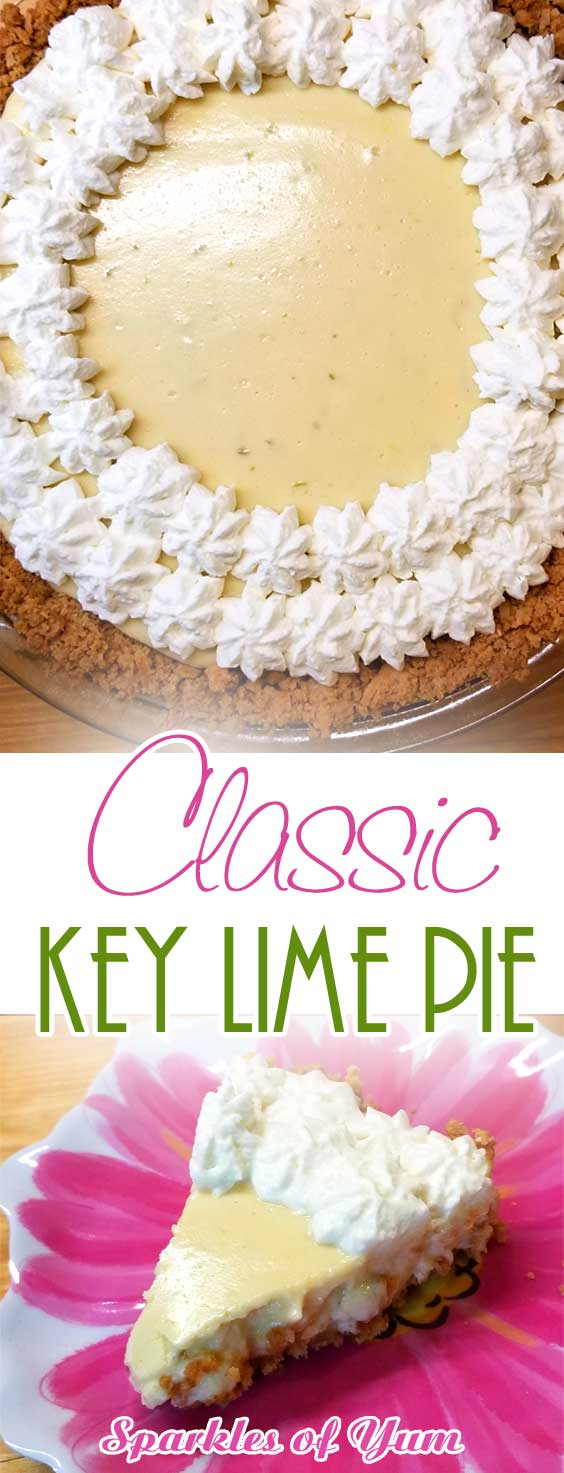This Classic Key Lime Pie hits all of your tastebuds. You may even get up and do a dance in between bites. It's so creamy and tangy at the same time, so easy and so delicious! Pure yum! Good luck stopping at one piece! #pie #lime #keylime #dessert #classic #keylimepie