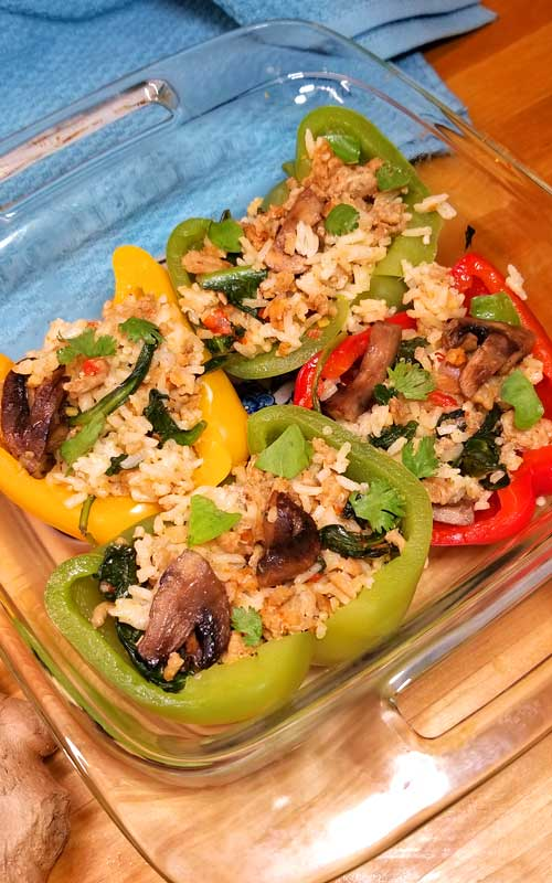 Today I have a unique twist on the average stuffed pepper recipe-Thai Curry Stuffed Peppers-SO FLAVORFUL!