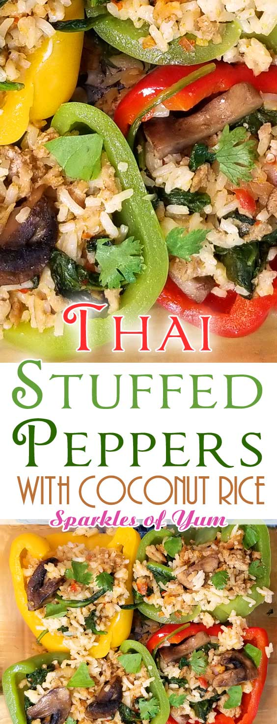 Thai Curry Stuffed Peppers - Today I have a unique twist on the average stuffed pepper recipe - Thai Curry Stuffed Peppers - SO FLAVORFUL! #dinnerideas #thai #stuffedpeppers #turkey