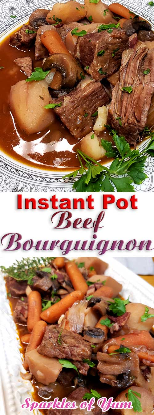Instant Pot Beef Bourguignon - No knife needed, spoon tender, and so much flavor. You can\'t go wrong with thisInstant Pot Beef Bourguignon, and it\'s EASY. #instantpot #beef #dinnerideas #frenchcooking #juliachild