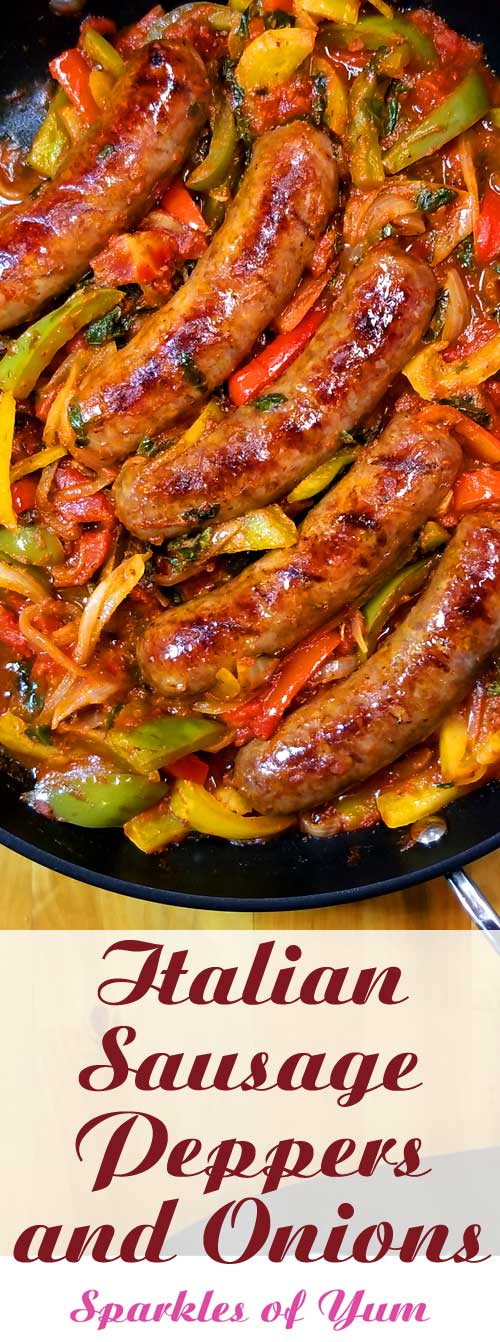 Quick, easy and delicious one skillet dinner! This recipe forItalian Sausage Peppers and Onions is so versatile. You can have it over mashed potatoes, pasta, polenta, cauliflower rice, or as an Italian sub sandwich. #Italian #sausage #peppers #onions #dinnerideas