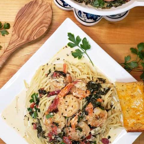 Garlic Butter Tuscan Shrimp in Creamy Wine Sauce