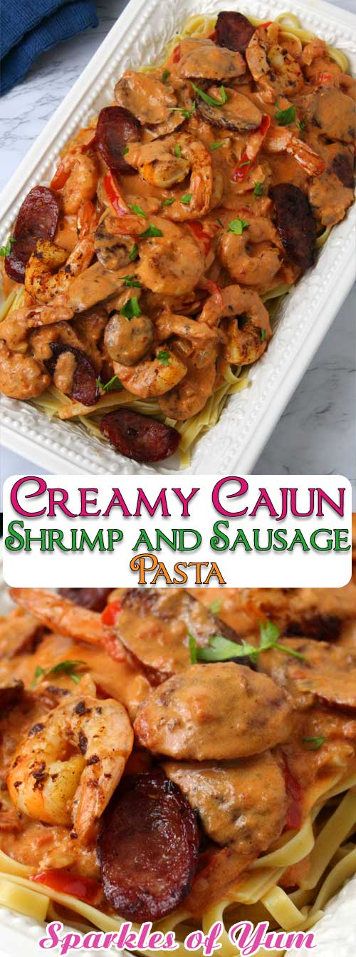 Creamy Cajun Shrimp and Sausage Pasta, is a celebration of flavors in one outstanding dish. I totally thought it tasted like I had ordered from a restaurant. This sauce is absolute Cajun heaven! #Cajun #shrimp #sausage #andouille #dinnerideas #MardiGras