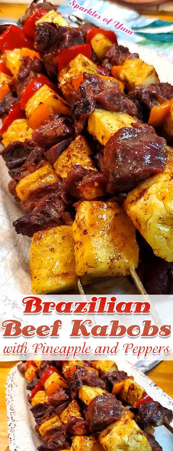 The grilled caramelized pineapple takes this dish over the top. These Brazilian Beef Kabobs with Pineapple and Peppers are very easy and so delish!Marinaded, smoky, and full of flavor goodness. #beef #grilling #Brazilian #pineapple #summer