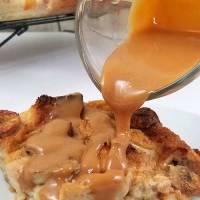 Salted Caramel Banana Bread Pudding