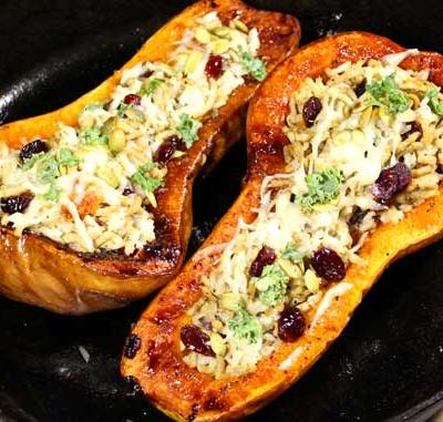 Stuffed Butternut Squash with Chicken and Rice