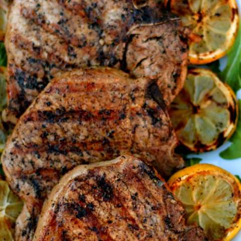 Grilled Lemon Garlic Pork Chops