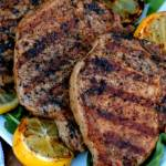 These Grilled Lemon Garlic Pork Chops were so fantastic! They were the superstar of our cookout! The lemon garlic marinade makes for the most juicy and tender chops around.