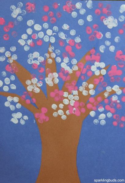 Cherry blossom tree craft for preschoolers