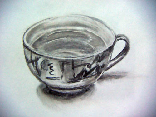 cuo of tea, charcoal