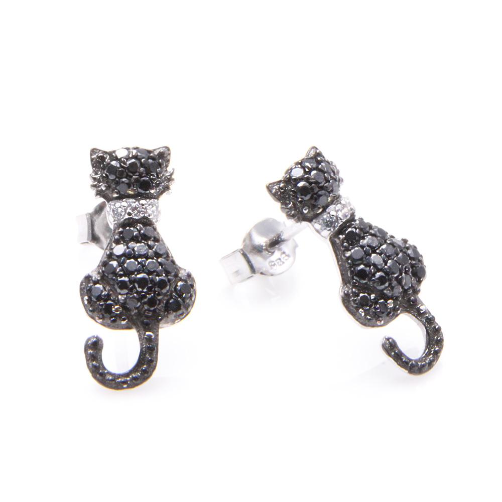 Sterling Silver Black Cat Stud Earrings SSTE00904