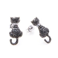 Sterling Silver Black Cat Stud Earrings SSTE00904