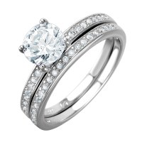 Sterling Silver Round Cut Wedding Ring Set SBGR01004