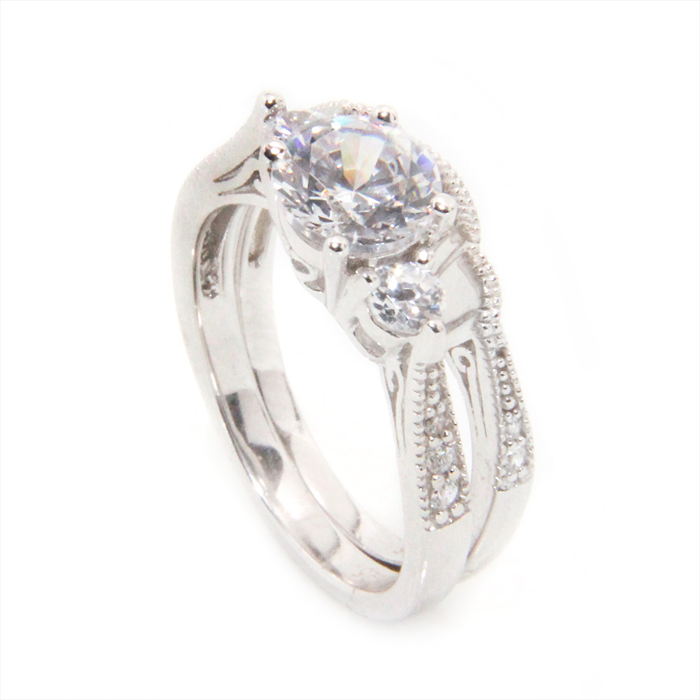 Sterling Silver CZ Engagement Ring Set SACR00027