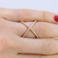 Sterling Silver Gold Criss Cross Ring SGMR00039GP