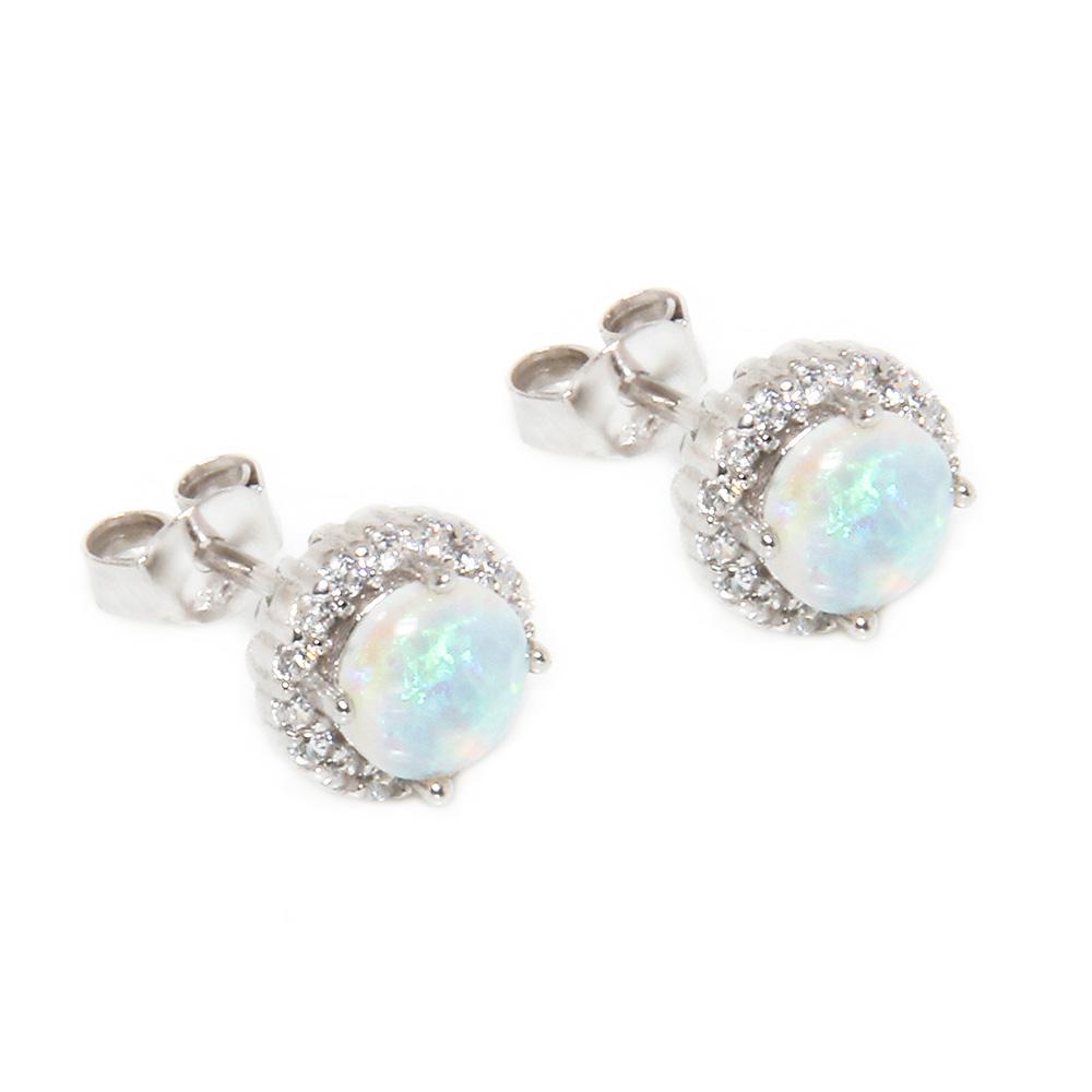 Sterling Silver Round CZ Opal Stud Earrings SSTE00963