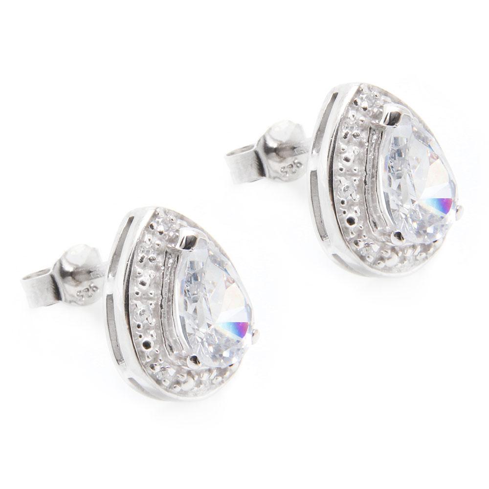 Sterling Silver Pear Stud Earrings SSTE00930