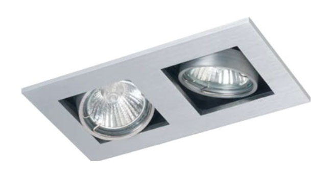 Led Spot Ip44 Dl2 - Twin Square Adjustable Downlight Mains Voltage