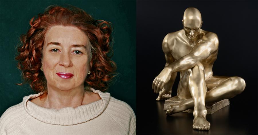 """Sculptor Linda Serrao and """"Atlas"""" as seen in the Southern California Sculpture exhibition"""