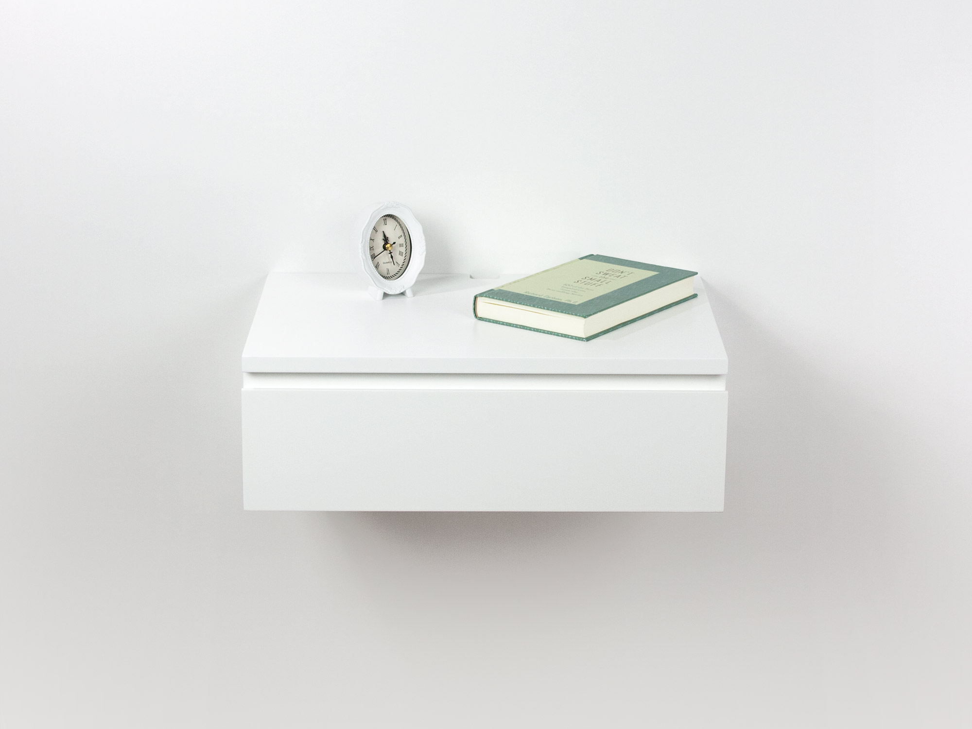 Blanca Sleek White Floating Drawer Nightstand, Modern Bedside Table