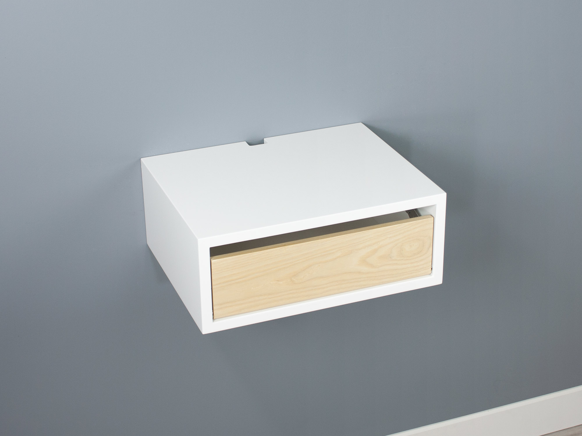 Floating nightstand Ash door SQ down