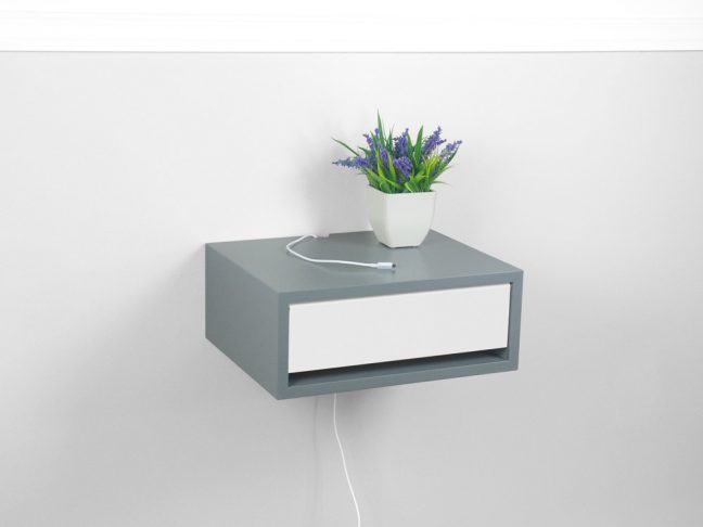 Devon Floating Nightstand Gray Finish, Wall Mount Bedside Table