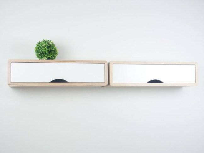 Hardwood Floating Shelf, Floating Entryway Shelf, floating box shelf white, mid-century modern storage shelf