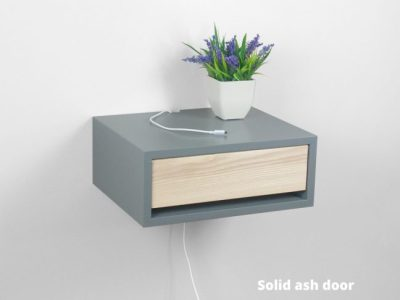 Contemporary Gray Floating Nightstand Drawer Wood Door