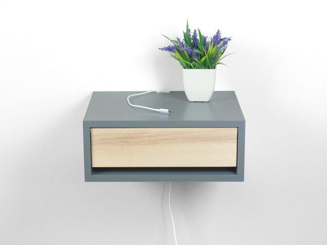 Contemporary Gray Floating Nightstand Bedside Table Spark Shell Craft