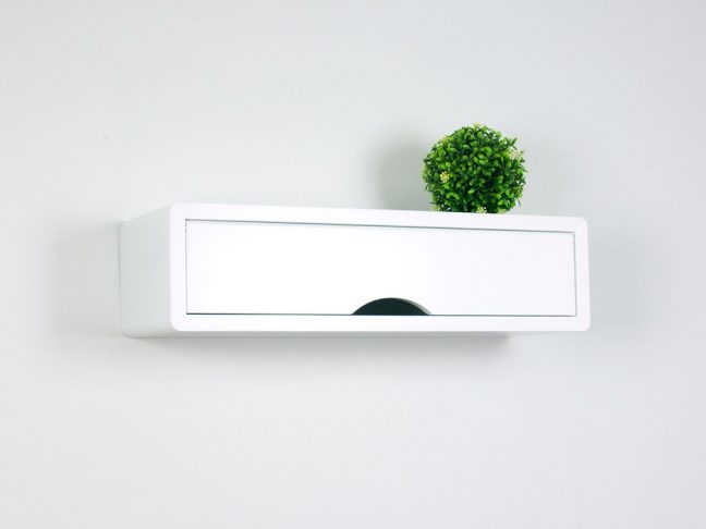 contemporary floating shelf, white wall cabinets