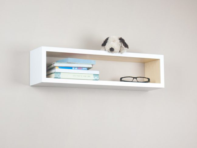 White and Natural Floating Shelf, Beautiful Wood Cube Shelf