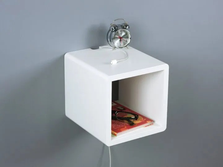 Small Cubby Floating Nightstand Mini Storage Side Table Spark
