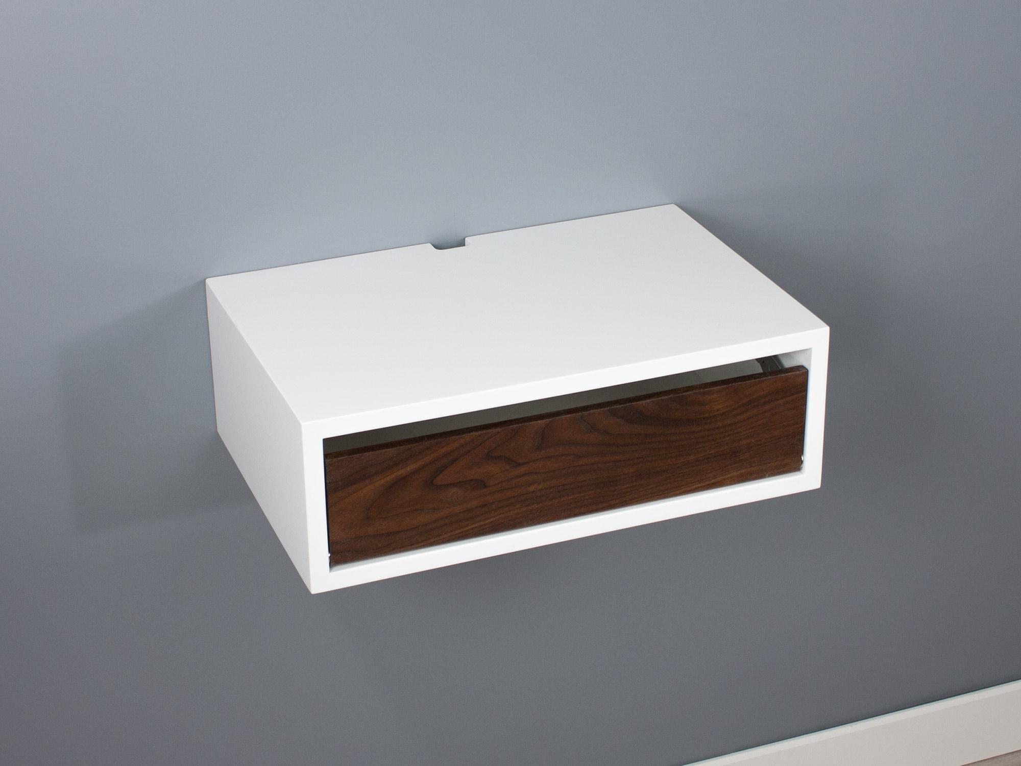 Floating nightstand walnut door SQ down