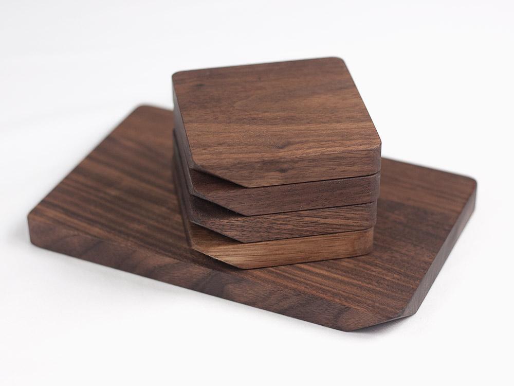 natural walnut wood coasters