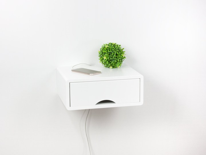 Denali Modern White Floating Nightstand, Wall Mount Side Table