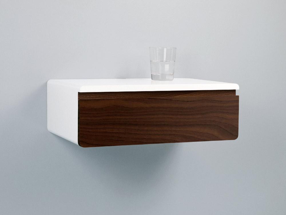 Blanca walnut floating nightstand drawer