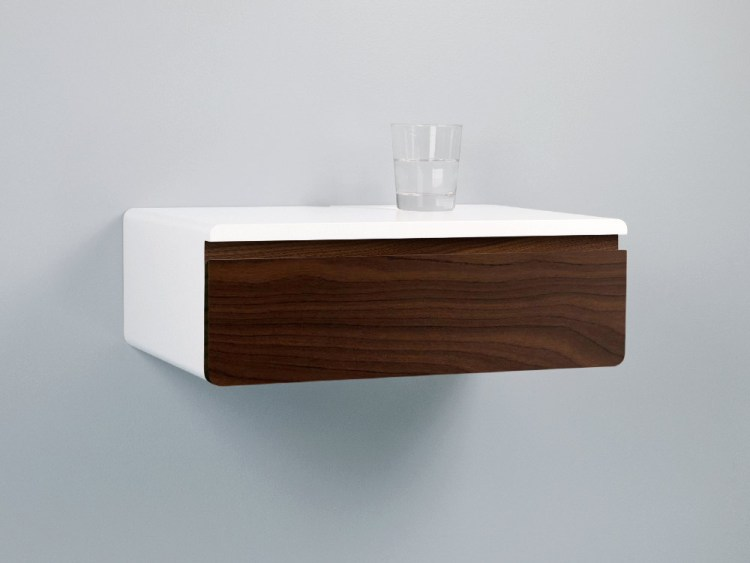 Blanca walnut floating nightstand drawer
