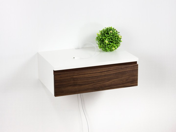Blanca Walnut Front Floating Nightstand Drawer, Wall Mount Bedside Table