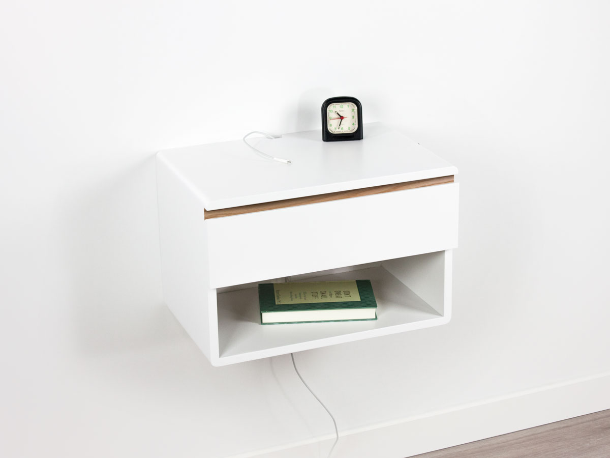 Blanca Floating Nightstand Drawer Shelf – One Drawer One Open Shelf