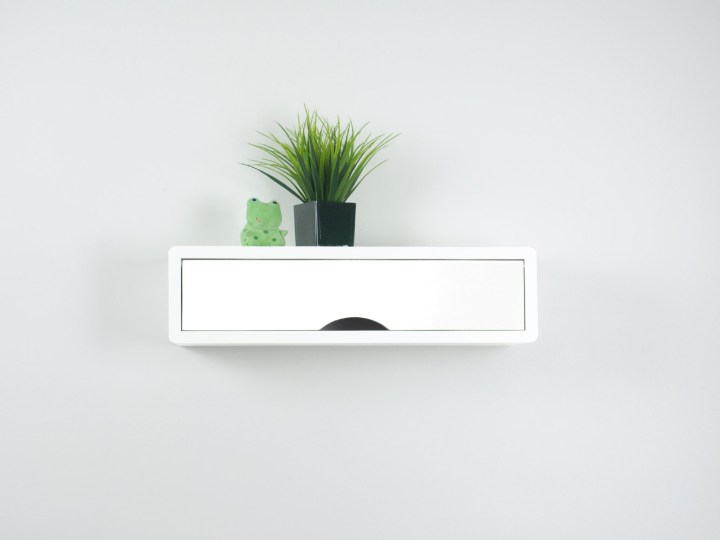 White Contemporary Floating Shelf with Door, White Wall Cabinet