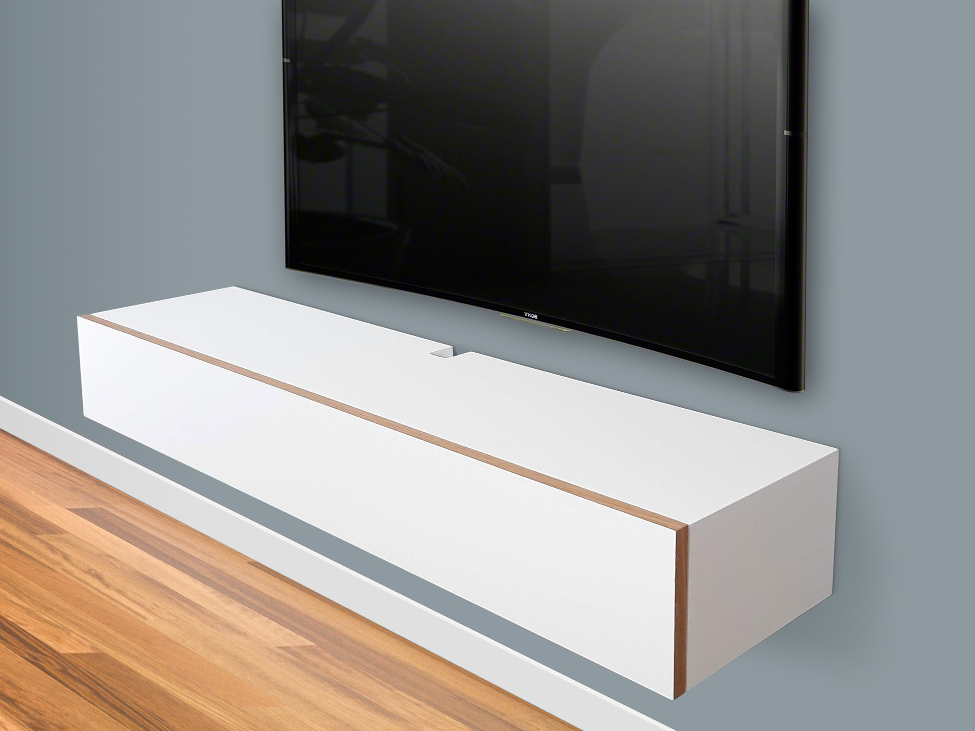 Blanca White Floating TV Stand, Wall Mount Media Console, Floating Entertainment Shelf