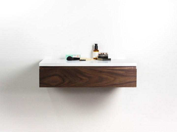 Blanca Walnut Floating Make-up Vanity, Wall Mount Desk