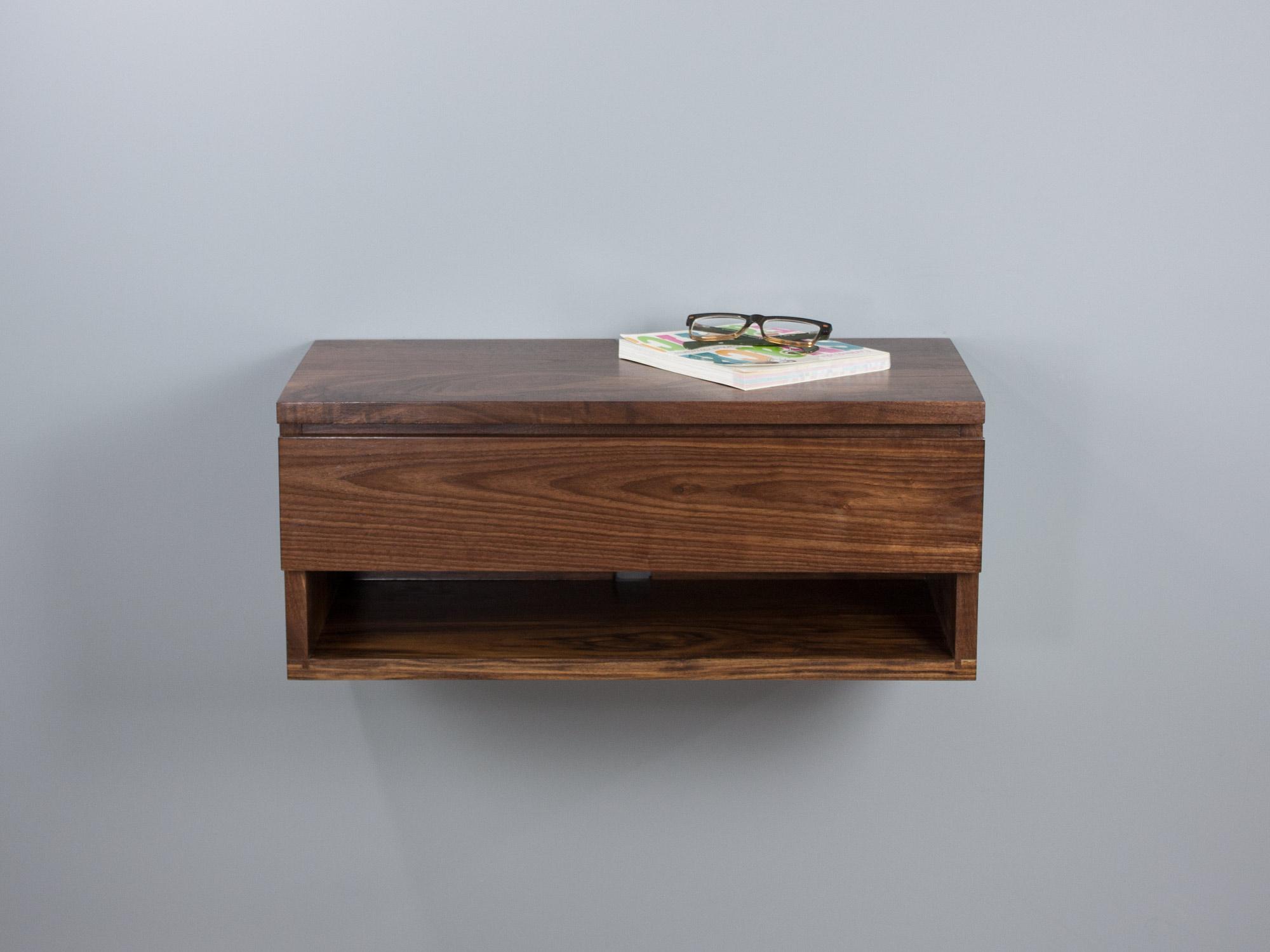 Walnut floating nightstand drawer shelf