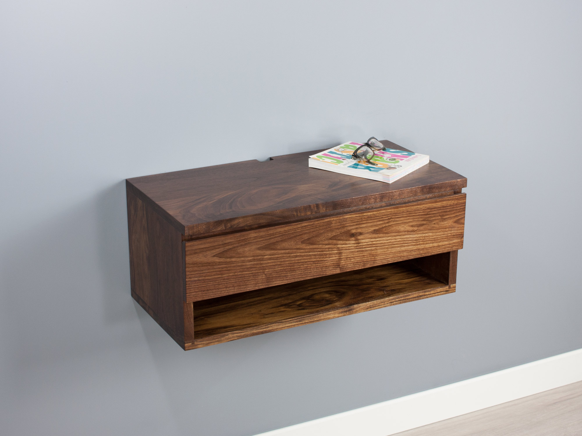 Walnut floating nightstand drawer shelf2