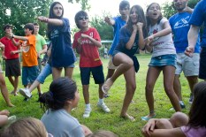(Candeleda, Spain - July 14, 2011) - Family Camp Gredos finishes Thursday classes. They have Casino Night and gunk one of the staff.