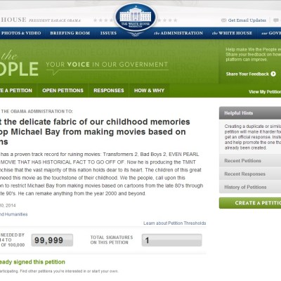 White House Petition to stop Michael Bay from making more movies based on cartoons! [REAL]